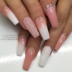 ✨ Peachy Nude, French Ombre, Crystals and Crystal Pixie on a long-running . - ✨ Peachy Nude, French Ombre, Crystals and Crystal Pixie on a long-running … - Summer Acrylic Nails, Best Acrylic Nails, Dope Nails, My Nails, Long Nail Designs Square, Tapered Square Nails, Square Gel Nails, Nagellack Design, Beauty Nail