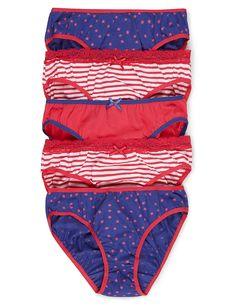 5 Pack Pure Cotton Assorted Bikini Knickers (6-16 Years)