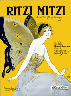 """Ritzi Mitzi sheet music Something Very Snappy! Words by Howard Johnson. Music by Con Conrad and Irving Bibo. Leo Feist popular edition. Copyright 1923. Sheet music no. 5223-3. Piano arrangement and lyrics.""""Mitzi was Ritzi and so polite she used to put on the swell"""" [first line]. """"Mitzi what makes you Ritz me so Mitzi you know it hits me so"""" [first line of chorus]."""