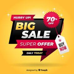 Big sale banner in flat design Free Vector - 2019 이벤트 Flat Design, E Design, Price Tag Design, Banners, Good Advertisements, Sale Banner, Social Media Design, Banner Template, Marketing