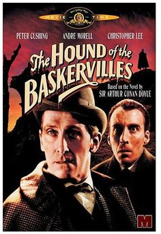 """""""The Hound Of The Baskervilles"""" was released, in the USA, on July 3, 1959...the first color adaptation of Sir Arthur Conan Doyle's classic and immortal Sherlock Holmes novel.  Produced by Britain's Hammer Films (at the time, a very popular producer of horror films) the movie starred Peter Cushing as Sherlock Holmes, Andre Morell as Dr. Watson and Christopher Lee as Sir Henry Baskerville."""