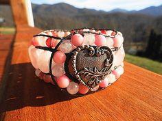 Rose Quartz-Morganite-Opal-Cherry Quartz 3 Row Leather Cuff Bracelet   GemOnAWire - Jewelry on ArtFire