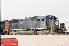 Illinois Central railroad SD70 with a Canadian National railway locomotive, its parent company. Champaign, Illinois September 9,2001