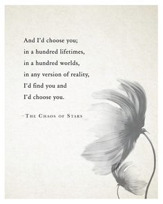 And I'd choose you;