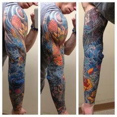 Japanese water sleeve. The colours are first class! What a great tattoo :D