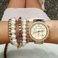 Love pairing tones of bracelets with a watch :) #love #armcandy #watch #like #pretty #jewlery #stacking