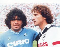 Maradona and Zico line up for the Brazilian's last game in Serie A for Udinese in 1985