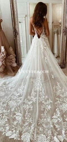 Spaghetti Strap Lace Appliqued Tulle A-line Long Cheap Wedding Dresses, WDS0063 #wedding#weddingdresses#laceweddingdresses#ongweddingdresses#weddingpartydresses #2020weddingdresses Wedding Outfits For Women, Country Wedding Dresses, Cheap Wedding Dress, Dream Wedding Dresses, Designer Wedding Dresses, Wedding Gowns, Lace Wedding, Wedding Dress Accessories, Groom Dress