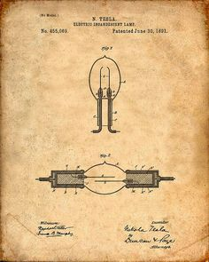 This is a print of the patent drawing for a Nikola Tesla Electric Incandescent Lamp patent in 1891.  The original patent has been cleaned up and enhanced to create an attractive display piece for your home or office.  This is a great way to put your interests and hobbies on display.  Wonderful gift idea as well. The image is printed on professional, acid free, archival matte fine art paper giving the image rich and vibrant colors.  Prints are packaged in acid-free, moisture resistant s..