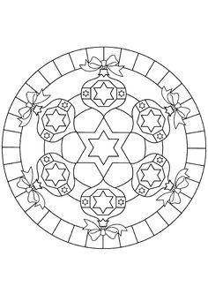 Mandala avec boules de noël et rubans à colorier