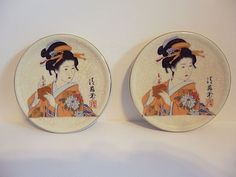 "JAPANESE MINIATURES PLATES WITH A BEAUTIFUL LADY FLORAL DESIGNS 3.5""WIDE"