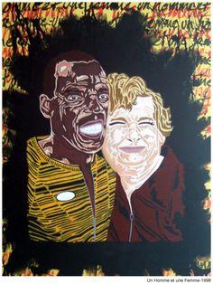 Un homme et une femme. 1998 Stencil Graffiti, Stencils, Artworks, Street Art, Joker, Fictional Characters, Woman, Art Pieces, Jokers