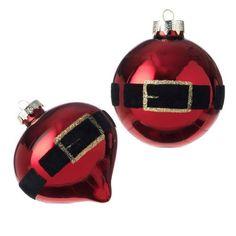"Santa Claus Red Glass Belt Ornaments 3""  Price : $12.95 http://www.perfectlyfestive.com/RAZ-Imports-Santa-Claus-Ornaments/dp/B008SKS8TY"