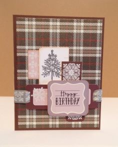 I couldn't resist using this line of paper for Michelle's Scotland plaid VSN challenge.  This paper pack was one of the first things I won years ago when I found the online stamping community!