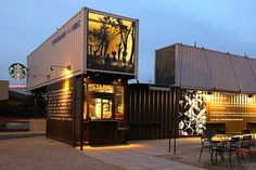 coffee shop constructed from reclaimed shipping containers.