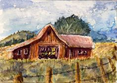 ACEO Rural Landscape Miniature Art Card, Barn, Original Watercolor, B. Jones #Miniature