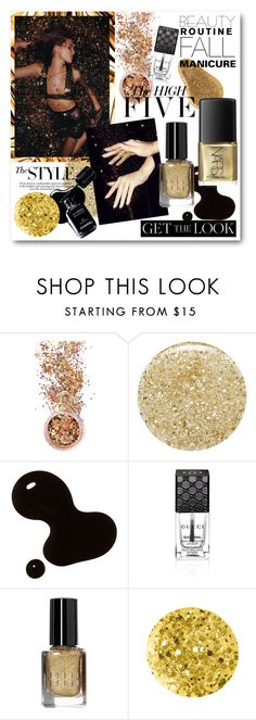"""""""#The High Five Fall Mani - French Black with Gold Glitter"""" by nikkisg ❤ liked on Polyvore featuring beauty, In Your Dreams, Lancôme, Nicole, Gucci, Chanel, Lacava, Bobbi Brown Cosmetics, Anna Sui and NARS Cosmetics"""