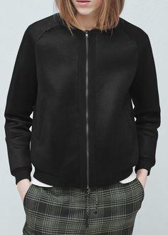 Mesh pattern bomber jacket | MANGO
