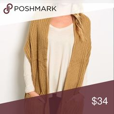 "Taupe oversized open wrap vest with pockets😊 This soft, extra wide scarf wrap features enlarged pockets and a thick ribbed knit texture. 100% Acrylic 16"" W/70"" L Sweaters Cardigans"