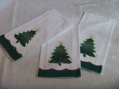Lillian Vernon Holiday Cotton Kitchen Towels Christmas Trees Stitched Applique Crewel Set of Three