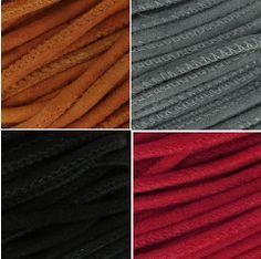 #Cordon de #cuir effet #daim avec double #couture. #Coloris: #camel #gris #noir #siam  Vendu 3€ les 30 cm ici >>> https://www.perlesandco.com/Cordon_cuir_effet_daim_avec_double_couture_3_mm_Camel_x30cm-p-85099.html