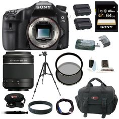 Sony A77II Digital SLR Camera (Body Only) with Sony DSLR SAL-55200/2 SAL 55-200mm F4-5.6 Sam Lens and 64GB Deluxe Accessory Kit. Superb subject tracking. Astonishing image quality. OLED Tru-Finder. Superior movie performance. Wi-Fi/NFC connectivity.