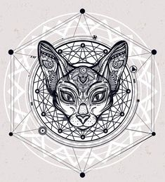 Vintage ornate cat head with ornaments and geometric design element Ethnic background tattoo art spi Stock Vector