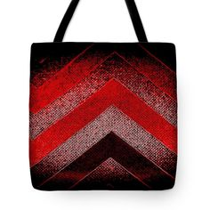 Red Black Chevrons New Red Bold Tote Bag featuring the digital art Red Black Chevron by Len-Stanley Yesh