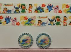 """2 Yards 1""""  Lilo and Stitch Inspired Grosgrain Ribbon and 2 Caps  #Unbranded"""