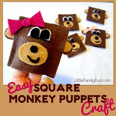 EASY monkey finger puppets you can make and pack along in your bag for the car, church, dr. office, or anywhere you need instant entertainment!