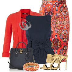 """""""Coral + Navy"""" by debpat on Polyvore"""