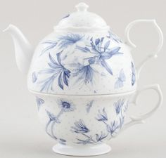"""Tea for One Set   ~   I love these """"Tea-for-One"""" sets, they are so clever and unique.  I have several, but not the"""" Portmeirion Botanic Blue,"""" with the darling blue butterflies on it. I wonder why I don't have this one?  I never consciously set out to collect  them, but all of a sudden, i became 3 which became 6 and so on..."""