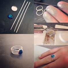 of the kernowcraft teams weekend creation - tripple band paua shell ring Wire Jewelry Rings, Soldering Jewelry, Jewelery, Silver Jewelry, Silver Earrings, Silver Bracelets, Jewelry Crafts, Handmade Jewelry, Ideas Joyería