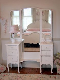 Lovely White Antique Vanity with Tri-fold Mirror