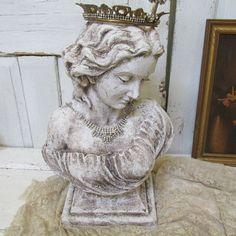 Hand painted lady bust shabby chic white statue distressed, handmade crown, elegant rhinestones home decor anita spero