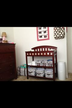 Cute way to organize a babies room