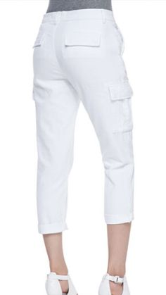 J Brand Dylan Pure White Slim Ankle Crop Cargo Jeans Women's Size 27 $222 | eBay