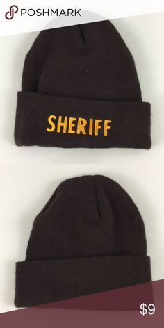 5c8ae603bce1c Sheriff Embroidered Beanie - Brown OSFM Sheriff Embroidered Beanie - Brown  OSFM Item is in good condition with no damage rips or stains Accessories  Hats