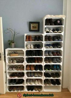 DIY Shoe Rack Ideas On a… Bedroom Storage Ideas For Clothes, Bedroom Ideas, Shoe Storage Ideas For Closet, Diy Bedroom, Shoe Storage Ideas For Small Spaces, Shoe Storage Solutions, Closet Shoe Storage, Bedroom Boys, Closet Ideas