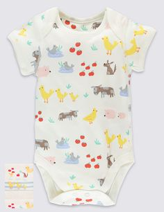 5 Pack Farm Animals Short Sleeve Bodysuits   Marks & Spencer London