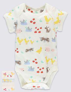 5 Pack Farm Animals Short Sleeve Bodysuits | Marks & Spencer London