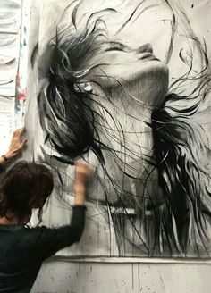 Ewa Hauton black and white portrait Art Sketches, Art Drawings, Drawing Faces, Abstract Sketches, Pintura Graffiti, L'art Du Portrait, Arte Pop, Artist At Work, Painting Inspiration