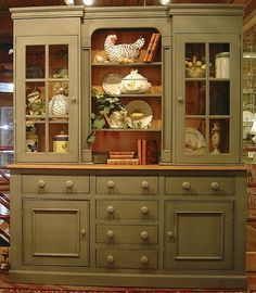 2 Pc Country Style Sideboard Buffet & Display Hutch