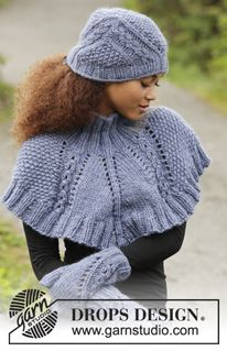 """A Royal Embrace / DROPS 171-18 - Set consists of: Knitted DROPS hat, neck warmer and mittens with textured pattern in """"Eskimo"""". - Free pattern by DROPS Design"""