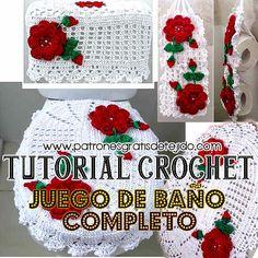 Juego de Baño Tejido al Crochet / Video Tutorial Completo | Crochet y Dos agujas                                                                                                                                                     Más