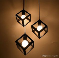 Vintage American Country Style Small Black Cube Cage Retro Pendant Lights Industrial Lighting Black,white,red Color Iron Material Online with $31.87/Piece on Pedgelin's Store | DHgate.com