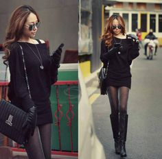 Stylish Solid Color Over Hip Batwing Knitting Dress For Women for $8.08 | Sammydress.com