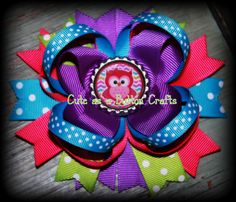 boutique style owl hair bow bright and colorful by tootoocute4you