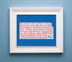 Kansas Rock Chalk Jayhawk State Print by KenmoreHouse on Etsy