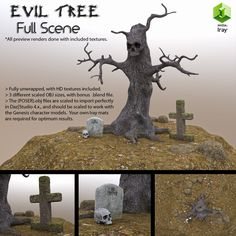 "One of my first ""complete"" 3d environment sets, the package includes all of the objects you see in the preview and wireframe renders; tree, rocks, gravestones01,02, and a skull model.  The obj..."
